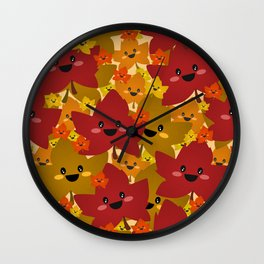 Happy leafy Autumn mess Wall Clock