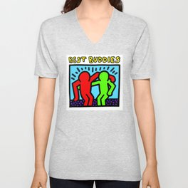 """Keith Haring inspired """"Best Buddies"""" Complementary Color R&G edition Unisex V-Neck"""