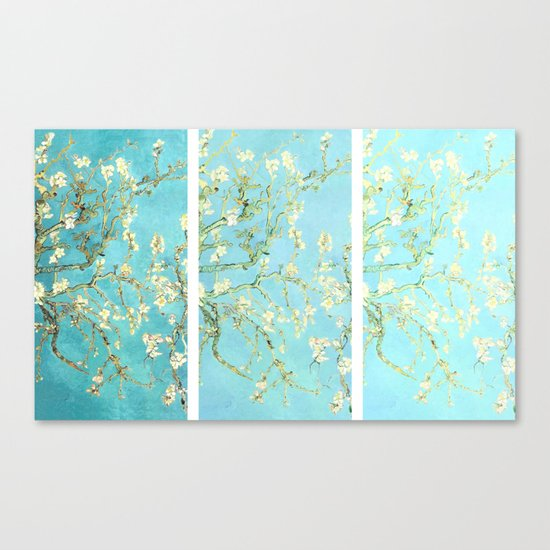 Vincent Van Gogh Almond Blossoms  Panel arT Aqua Seafoam Canvas Print
