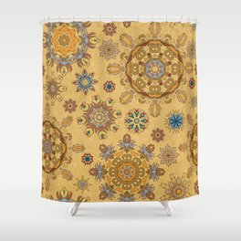 Floral pattern with stylized snowflakes. Christmas winter snow theme pattern. Shower Curtain