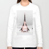 paris Long Sleeve T-shirts featuring pariS Black & White + Pink by 2sweet4words Designs