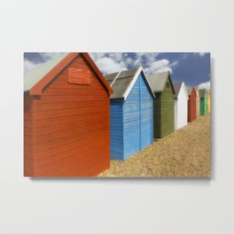 Multi-coloured beach Huts Metal Print