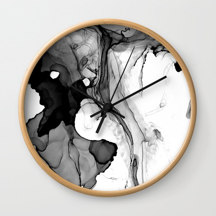 Soft Black Marble Wall Clock