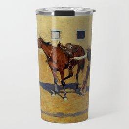 "Frederic Remington Western Art ""His First Lesson"" Travel Mug"