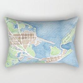 Coastal Map of Galveston TX Rectangular Pillow