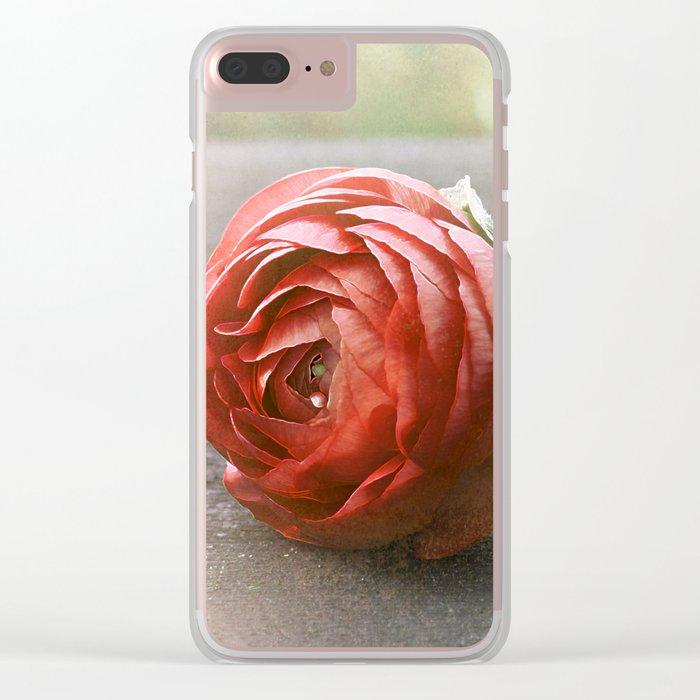 Vintage Ranunculus 2 Clear iPhone Case