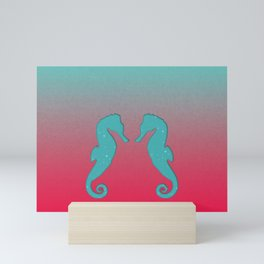 Aqua seahorses Mini Art Print