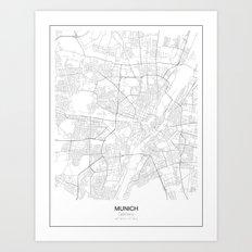 Munich, Germany Minimalist Map Art Print