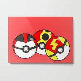 Pokeballs Red Theme Metal Print