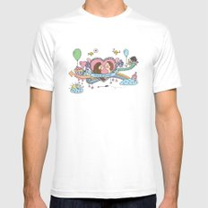 Valentine's Doodle White Mens Fitted Tee MEDIUM