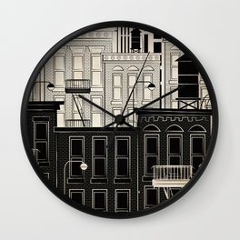 My Dream View - Illustration New York City Block in Black and White Wall Clock