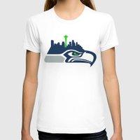 seahawks T-shirts featuring Seattle Seahawks Skyline by Ainslie Kellas