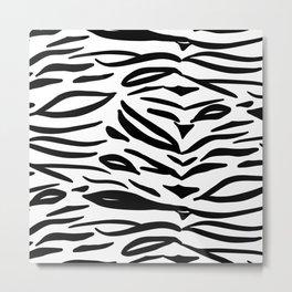 Tiger Print - Black and White Metal Print