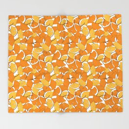 ginkgo leaves (orange) Throw Blanket