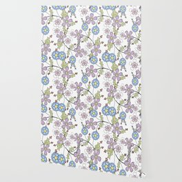 Cute floral pattern on a white background Wallpaper