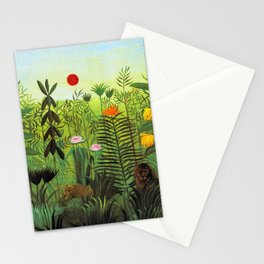 EXOTIC LANDSCAPE WITH LION AND LIONESS IN AFRICA - HENRI ROUSSEAU  Stationery Cards