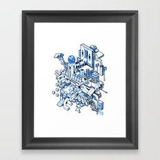 Small City - Blue Framed Art Print
