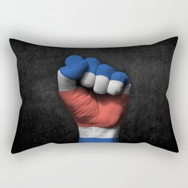 Costa Rican Flag on a Raised Clenched Fist Rectangular Pillow