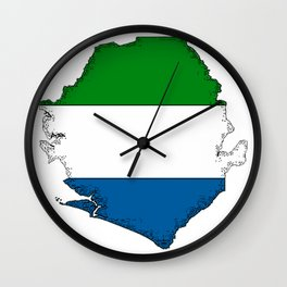 Sierra Leone Map with Sierra Leonean Flag Wall Clock
