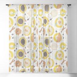 Coffee upper view Sheer Curtain