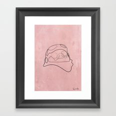 One Line Porco Rosso red Framed Art Print