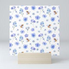 Elegant lavender brown watercolor honey bee floral Mini Art Print