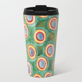 Multicolorful Circles in Front of Horizontal Stripes Travel Mug
