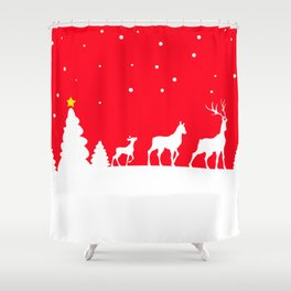 deer family in winter landscape Shower Curtain
