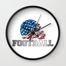 Football in Red and Blue Wall Clock