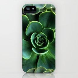JADE GREEN SUCCULENT ROSETTES DESIGN iPhone Case