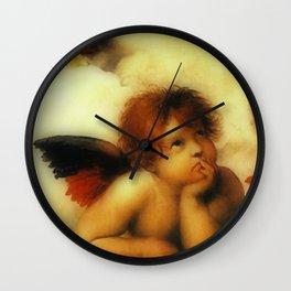 """Raffaello Sanzio da Urbino """"Sistine Madonna"""", 1513-1514 - angels (3) Wall Clock"""