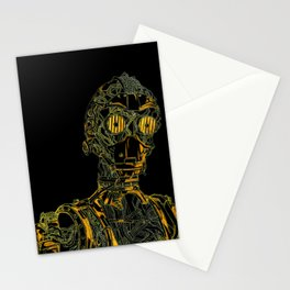 Geometric Black and Gold Robot Stationery Cards