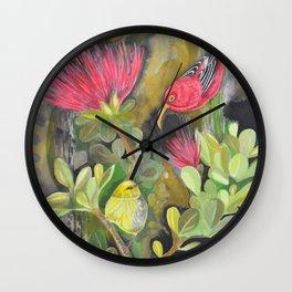 'Iwi'i and Maui 'Alauhio in Red Ohia Lehua Tree Wall Clock