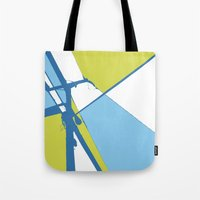 the wire Tote Bags featuring High Wire by Ryan Johnson
