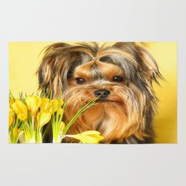 Spring Yellow Crocuses With Yorkie Puppy #decor #society6 Rug