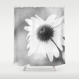 Beautiful Echinacea Flower Black and White Shower Curtain