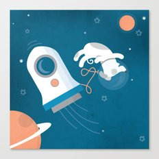 Darwin the Diddy Dog Diving into Deep Space Canvas Print
