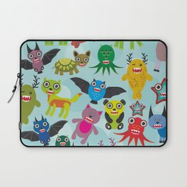 Cute cartoon Monsters seamless pattern on blue background Laptop Sleeve