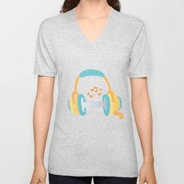 watercolor headphone Unisex V-Neck