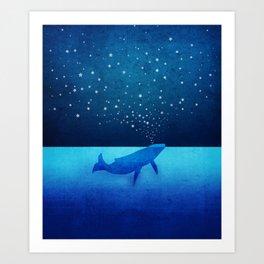 Whale Spouting Stars - Magical & Surreal Art Print