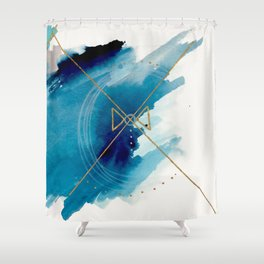 Galaxy Series 3 - a blue and gold abstract mixed media set Shower Curtain