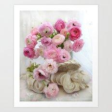 Pink Floral Dreaming Angel Art Print