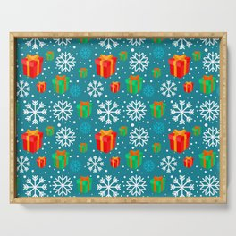 Christmas Gift and Snowflakes Pattern Serving Tray