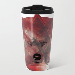 Wolf Head With Moon/Galaxy Design RED Metal Travel Mug