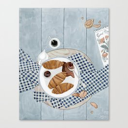 Croissants With Cherry Jam Canvas Print
