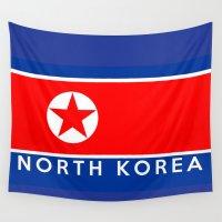 korea Wall Tapestries featuring flag of North Korea by tony tudor