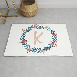 Watercolor Monogram Wreath Letter K Rug