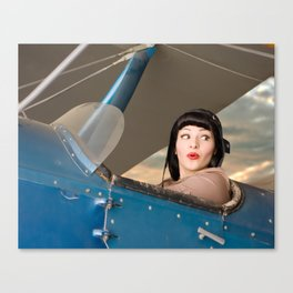 """""""Plucky Pilot"""" - The Playful Pinup - Pilot Pin-up Girl in Airplane by Maxwell H. Johnson Canvas Print"""