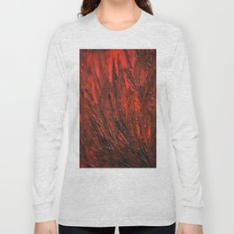 Red textured oil Long Sleeve T-shirt