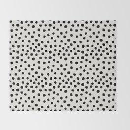 Preppy brushstroke free polka dots black and white spots dots dalmation animal spots design minimal Throw Blanket